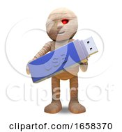 Technologically Minded Egyptian Mummy Monster Keeps Data On A USB Thumb Drive by Steve Young