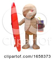 Cool Egyptian Mummy Has Joined The Surfers With His Surfboard by Steve Young