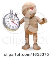 Efficient Egyptian Mummy Monster Holding A Stopwatch by Steve Young