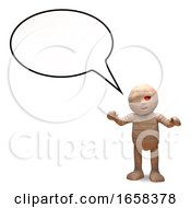 Talkative Egyptian Mummy Monster With Speech Blank Bubble by Steve Young