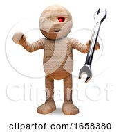 Helpful Egyptian Mummy Monster Holding A Spanner by Steve Young