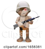Funny Egyptian Mummy Monster Dressed As A Soldier With Rifle