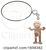 Contemplative Egyptian Mummy Monster With Blank Thought Balloon by Steve Young