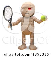 Sporty Egyptian Mummy Monster Loves Playing Tennis In The Summer by Steve Young