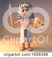 Poster, Art Print Of Artistic Ancient Egyptian Pharaoh Tutankhamun Holding A Paintbrush And Palette
