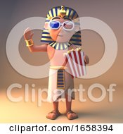 Poster, Art Print Of Ancient Egyptian Pharaoh Tutankhamun Watches A 3d Movie While Eating Popcorn