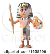 Cartoon Egyptian Pharaoh Tutankhamen With Paintbrush And Palette