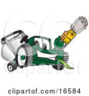 Green Lawn Mower Mascot Cartoon Character Holding Up A Saw