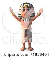 Ancient Egyptian Pharaoh Tutankhamun With Arms Up