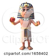 Ancient Egyptian Pharaoh Tutankhamen Eating An Apple