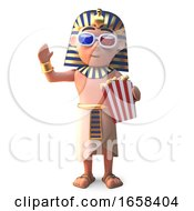 Egyptian Pharaoh Tutankhamen Watches 3d Movie Eating Popcorn