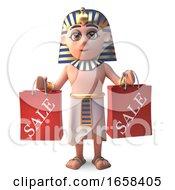 Funny Egyptian Pharoaoh Tutankhamen With Shopping Bags
