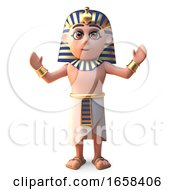 A Cheering Egyptian Pharaoh Tutankhamun