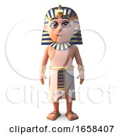 Peaceful Egyptian Pharaoh Tutankhamen Stands Erect