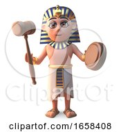 Cartoon Ancient Egyptian Pharaoh Tutankhamun Holds An Auction