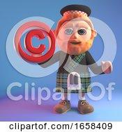 Cartoon Scottish Man In Kilt Holds A Copyright Symbol