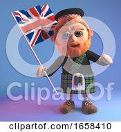 Scottish Man In Kilt Waves The British Union Jack Flag