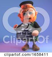 Movie Making Scottish Man In Kilt Using A Film Slate Clapperboard