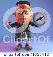 Navigationally Minded Scottish Man Holding A Magnetic Compass