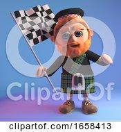 Cartoon Scottish Man Waving A Checkered Flag