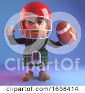 Sports Mad Scottish Man In Kilt Playing American Football