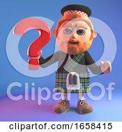 Cartoon Scottish Man In Kilt Holds A Question Mark Symbol