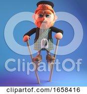 Scottish Man In Kilt Walking On Some Stilts