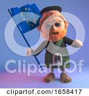 Cartoon Scottish Man Waving The European Flag
