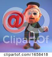 Connected Scottish Man In Kilt Holds Email Address Symbol