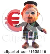 Cartoon Scottish Man In Traditional Kilt Holding A Euro Currency Symbol