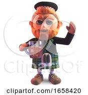 Thirsty Scottish Man In Kilt Drinks A Tasty Pint Of Beer