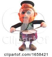 Scottish Main Kilt Drumming Frantically On A Drum