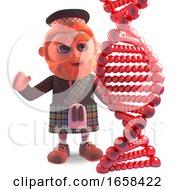 Scottish Man In Kilt Studies A Dna Gene Strand