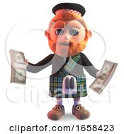 Rich Scottish Man In Kilt Holding Wads Of US Dollar Bills