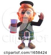 Cartoon Scottish Man In Kilt Drinking Juice From A Glass