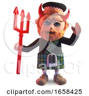 Devilish Scottish Man In Kilt With Evil Horns And Trident by Steve Young