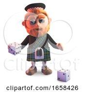 Gambling Scottish Man In Kilt Plays With Dice
