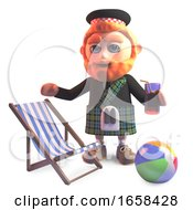 Holidaying Scottish Man In Kilt With Deckchair And Drink