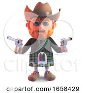 Outlaw Scottish Man In Kilt And Stetson Cowboy Hat Points Pistols