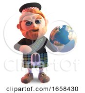 Geographically Minded Scottish Man In Kilt Holds Globe Of The Earth