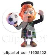 Cartoon Scottish Man In Traditional Kilt Ready To Throw A Football