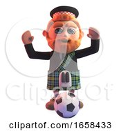 Scottish Man In Traditional Kilt Cheering With A Football