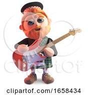 Poster, Art Print Of Musical Scottish Man In Kilt Playing An Electric Guitar