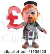 Scottish Man In Kilt Holds A UK Pounds Sterling Currency Symbol