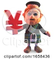 Cartoon Scottish Man In Traditional Kilt Holding Japanese Yen Currency Symbol