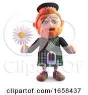 Cartoon Scottish Man In Traditional Kilt Holding A Daisy Flower
