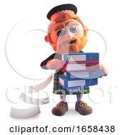 Cartoon Scottish Man In Traditional Kilt Drops Files From His Folders
