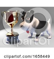 Cool Black And White Puppy Dog Wins The Gold Cup Trophy Award Prize