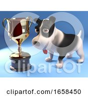 Proud Puppy Dog Looks At His Gold Cup Trophy Award