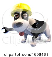 Construction Worker Puppy Dog In Safety Helmet Holds Spanner by Steve Young